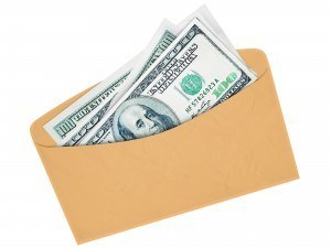 Envelope being used to stash money to be used for bills and budgeting