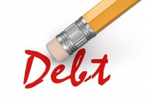 Pencil shown erasing debt