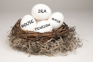 retirement nest eggs including 401k, IRA, and pension