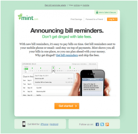 Need help remembering when your bills are due? Would you appreciate an email reminder? Mint.com does all of that and more!