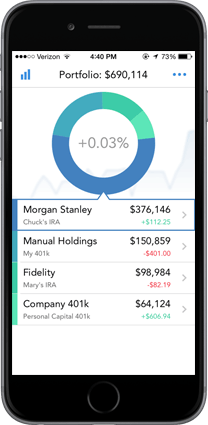 Mobile screenshot of personal capital