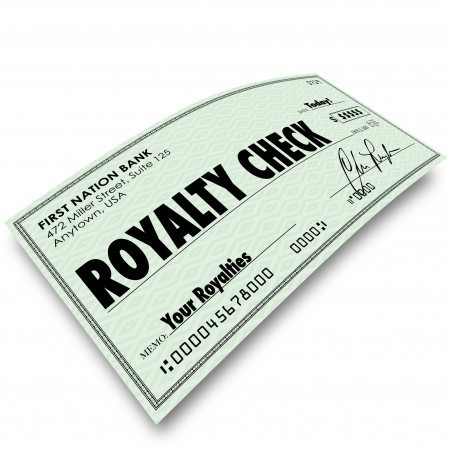 A royalty check being paid to a person who earned it