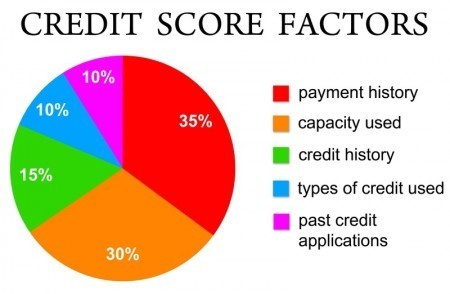 Chart shows the different factors that affect your credit score like payment history, outstanding credit, and how many credit card applications you have put in