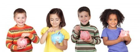 Having children can actually save you money. Here, some kids fill their piggy banks with cash
