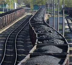Coal being transported by train