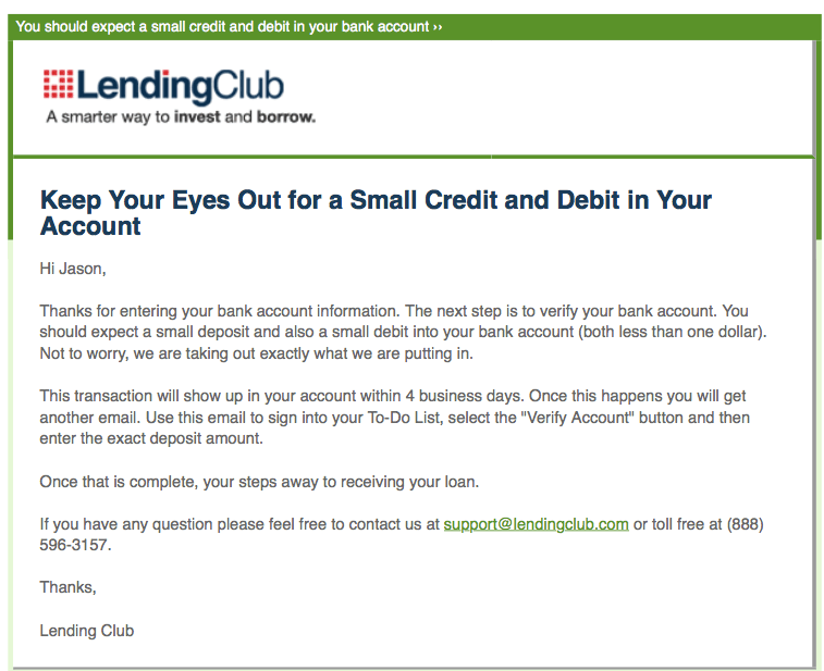 Email from Lending Club that I needed to confirm my bank account
