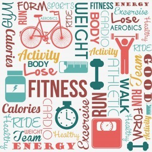 exercise and fitness words including run, walk, bike, calories, fat, and activity
