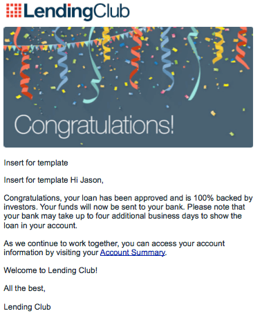 Loan approval email from LendingClub.com