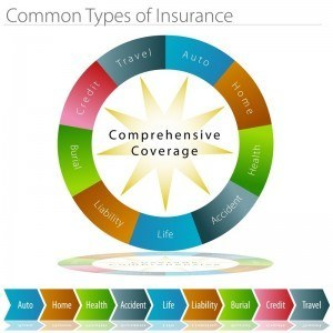 Shows different types of insurance including life, auto, homeowners, liability, burial and more