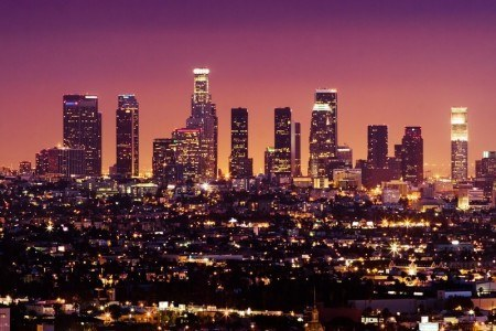 Nighttime picture of Los Angeles with a beautiful sunset