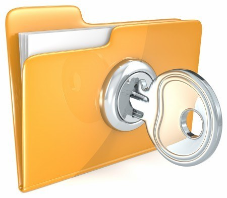 File folder locked with a key