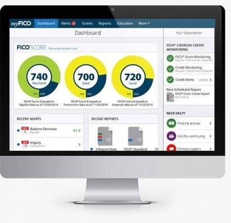 Screenshot of the myFICO dashboard which shows your 3 credit bureau credit scores, recent alerts, and recent reports