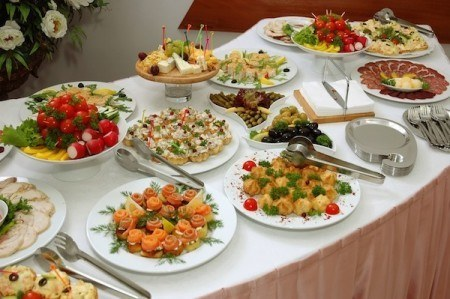 Buffet of fine food at a wedding reception is much cheaper than a sit down dinner or meal